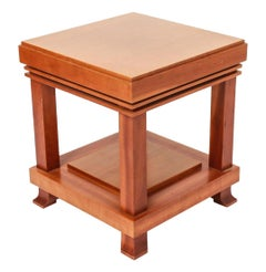 "Vintage Frank Lloyd Wright for Cassina ""Robie"" Maple Wood Side Table 1989 Signed"