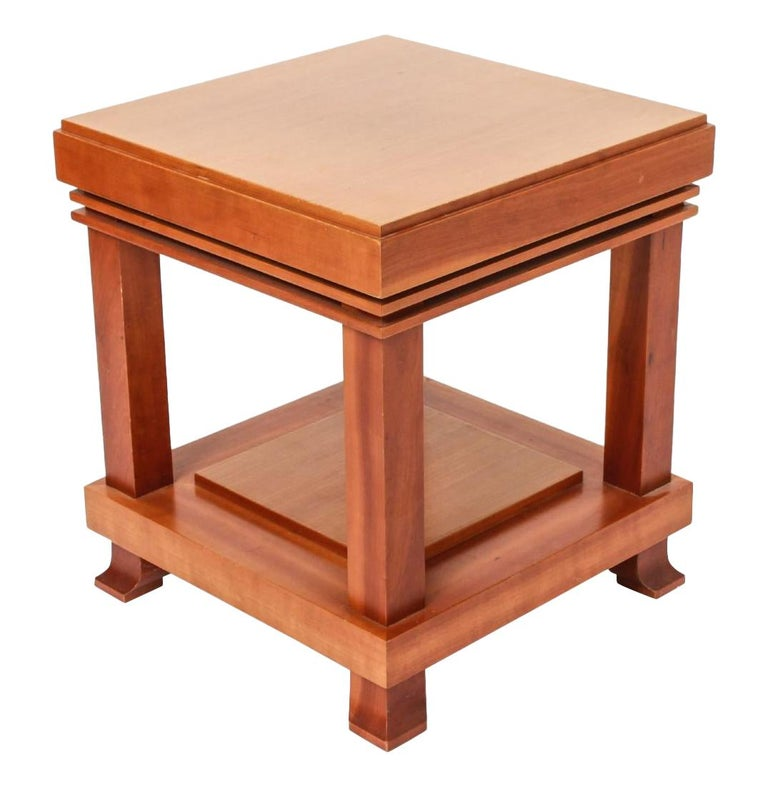 "Vintage Frank Lloyd Wright for Cassina ""Robie"" Maple Wood Side Table 1989 Signed For Sale"
