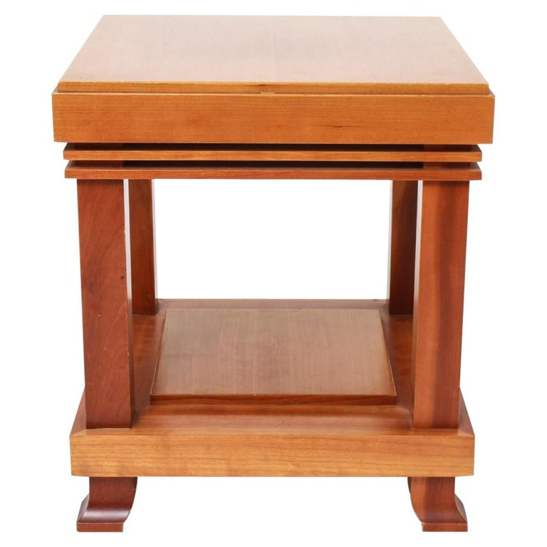 """Vintage Frank Lloyd Wright for Cassina """"Robie"""" Maple Wood Side Table 1989 Signed For Sale"""