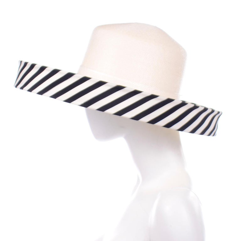 Beige Vintage Frank Olive Ivory Straw Hat With Black & White Stripe Upturned Brim For Sale