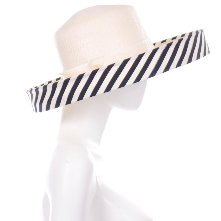 Women's Vintage Frank Olive Ivory Straw Hat With Black & White Stripe Upturned Brim For Sale