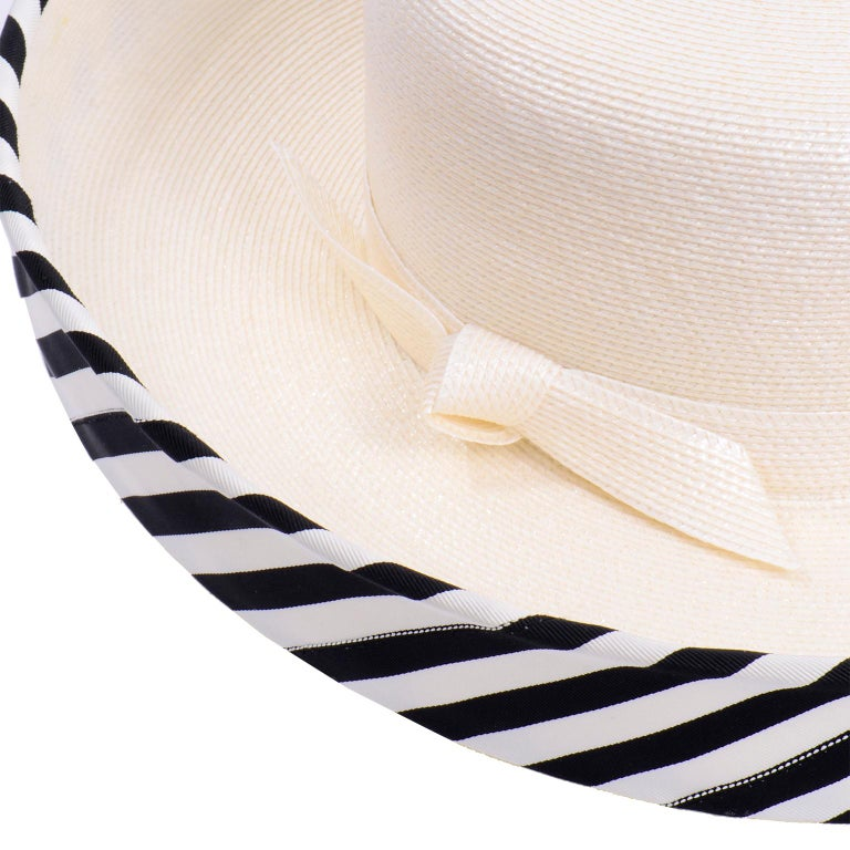 Vintage Frank Olive Ivory Straw Hat With Black & White Stripe Upturned Brim For Sale 2