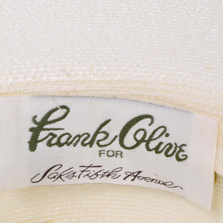 Vintage Frank Olive Ivory Straw Hat With Black & White Stripe Upturned Brim For Sale 3