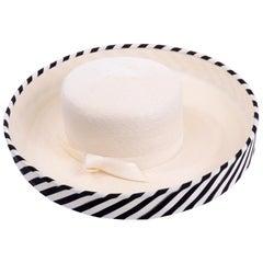 Vintage Frank Olive Ivory Straw Hat With Black & White Stripe Upturned Brim