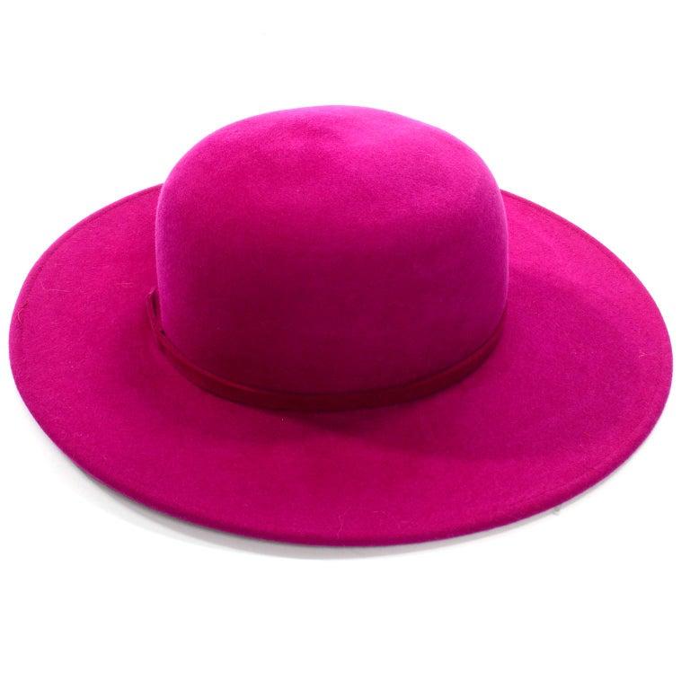 Vintage Frank Olive Magenta Structured Brim Pink Felted Wool Hat I Magnin For Sale 6