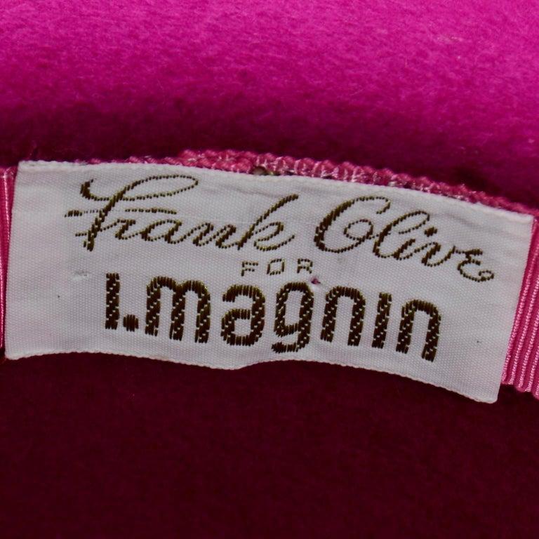 Vintage Frank Olive Magenta Structured Brim Pink Felted Wool Hat I Magnin For Sale 7