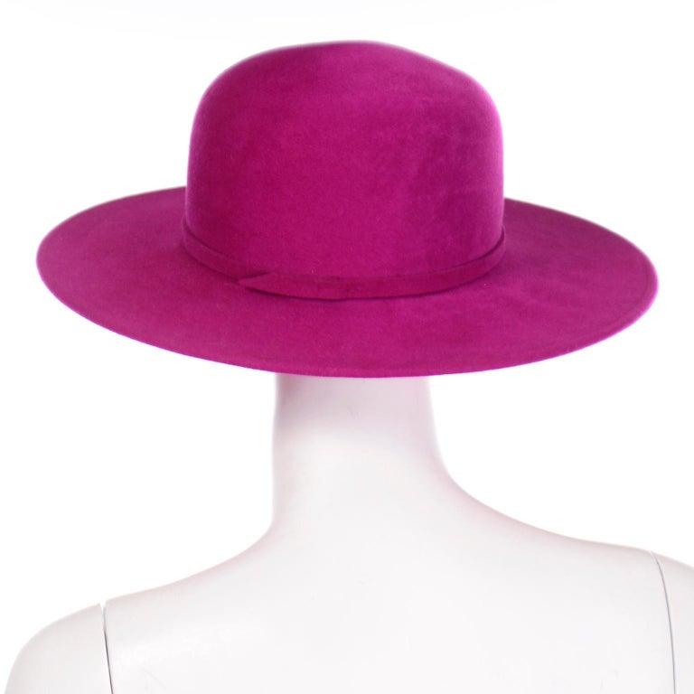 Women's or Men's Vintage Frank Olive Magenta Structured Brim Pink Felted Wool Hat I Magnin For Sale
