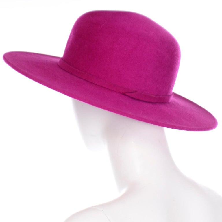 Vintage Frank Olive Magenta Structured Brim Pink Felted Wool Hat I Magnin For Sale 1