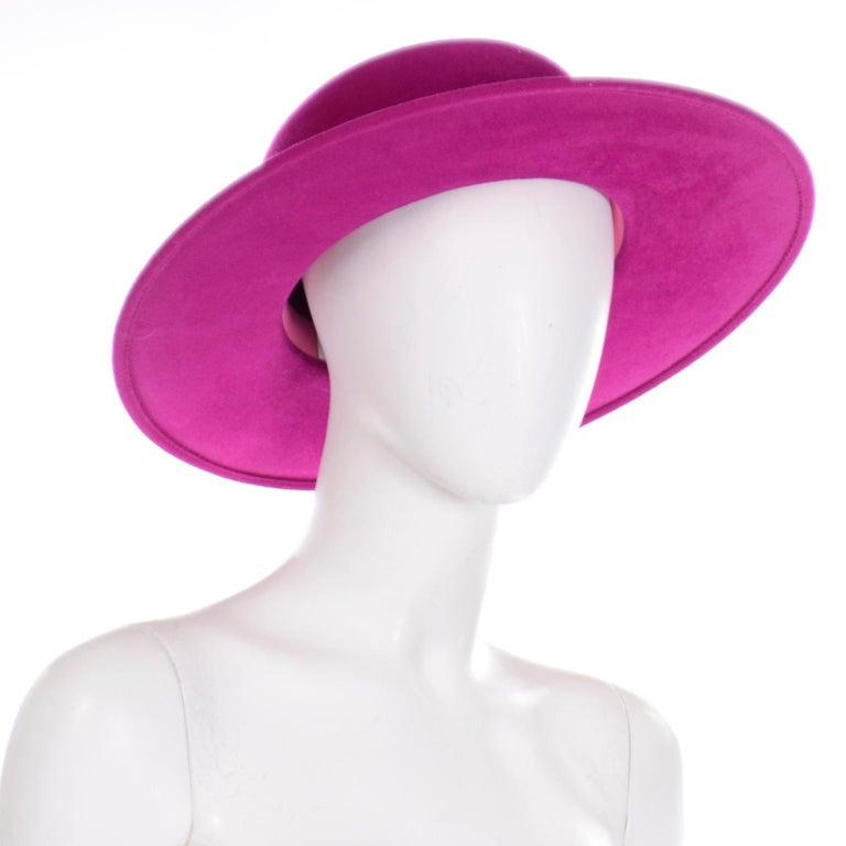 Vintage Frank Olive Magenta Structured Brim Pink Felted Wool Hat I Magnin For Sale 2