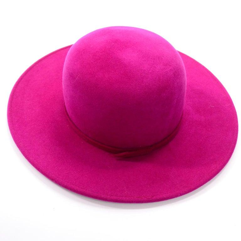 Vintage Frank Olive Magenta Structured Brim Pink Felted Wool Hat I Magnin For Sale 4