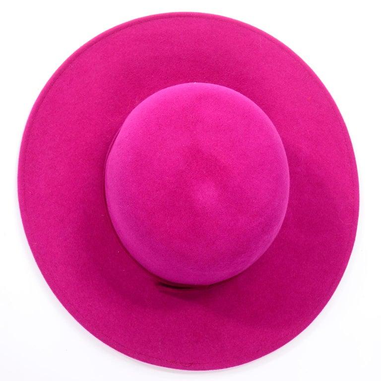 Vintage Frank Olive Magenta Structured Brim Pink Felted Wool Hat I Magnin For Sale 5