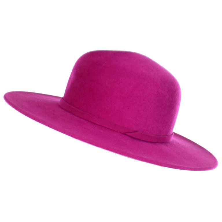 Vintage Frank Olive Magenta Structured Brim Pink Felted Wool Hat I Magnin For Sale