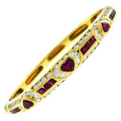 Vintage Fred Paris Ruby 18k Gold Bangle Bracelet