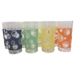 Vintage Fred Press, Bubbles, 4 Color Party Set, 8 Highball Glasses