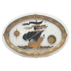 Vintage Fred Press Nautical Themed Glass Serving Tray