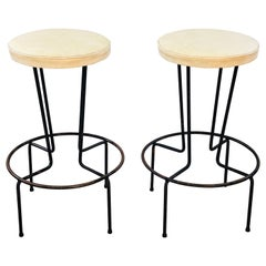 Vintage Frederick Weinberg Wrought Iron Bar Stools, Pair