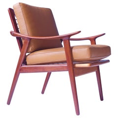 Vintage Fredrik A. Kayser Teak, Leather & Brass Easy Chair #563, Norway, 1950s