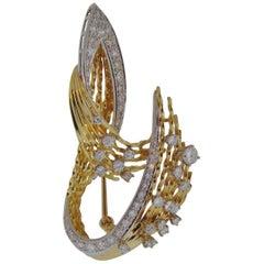Vintage Freeform Diamond Set Brooch