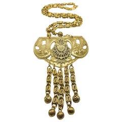 Vintage Freirich Etruscan Statement Bib Necklace French 1960s
