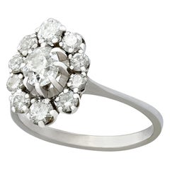 Vintage French 1 Carat Diamond and White Gold Cluster Ring, circa 1970