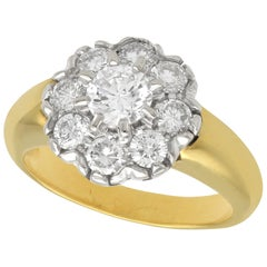 Vintage French 1.15 Carat Diamond and Yellow Gold Cluster Ring