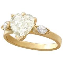 French 1.32 Carat Diamond and Yellow Gold Engagement Ring