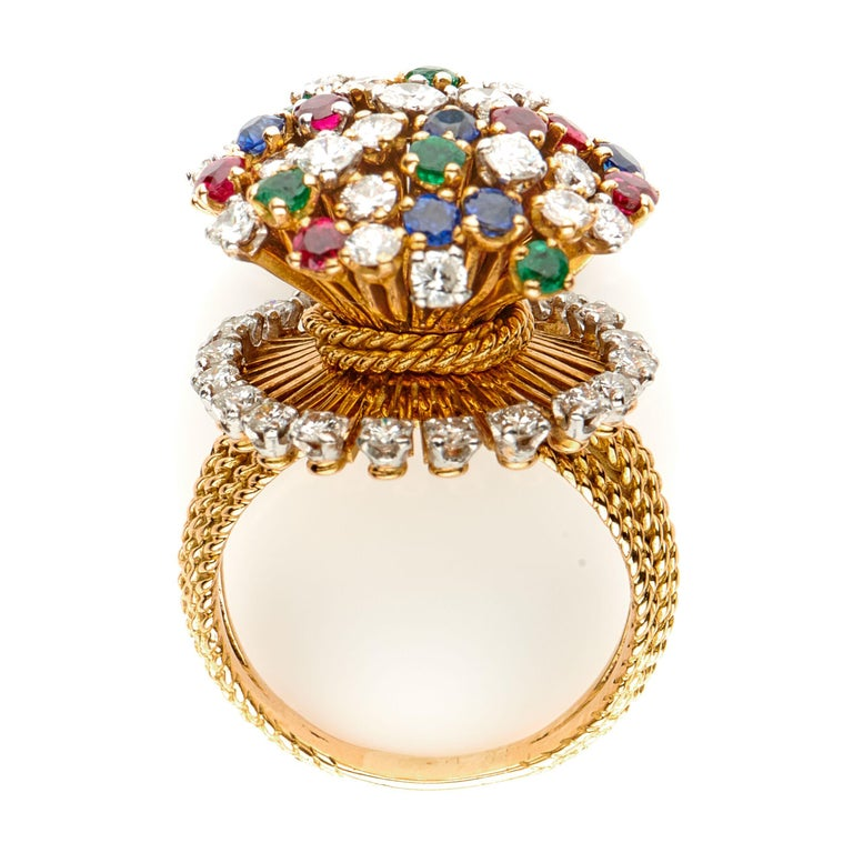 Vintage, French, 18 Carat Yellow Gold Sapphire, Emerald and Diamond Cluster Ring 2