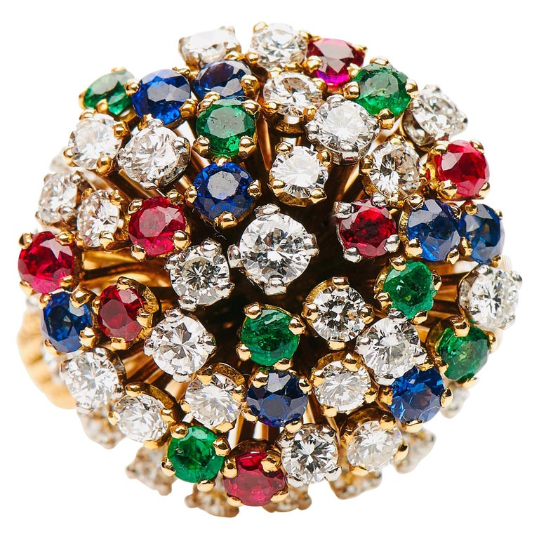 Vintage, French, 18 Carat Yellow Gold Sapphire, Emerald and Diamond Cluster Ring