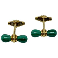 Vintage French 18 Karat and Malachite Cufflinks by Alfred Dunhill