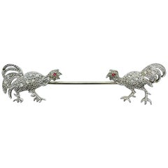 Vintage French 18 Karat White Gold Diamond and Ruby Rooster Jabot Pin