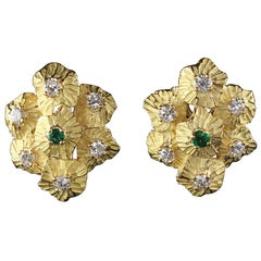Vintage French 18 Karat Yellow Gold Diamond and Emerald Earrings