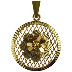 Vintage French 18 Karat Yellow Gold Filigree Flower Rosette Charm Pendant