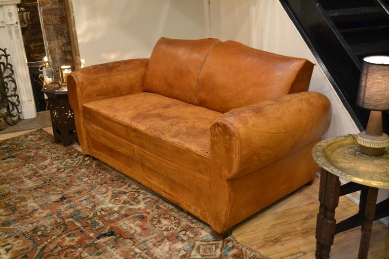Art Deco Vintage French 1930s Leather Sofa For Sale