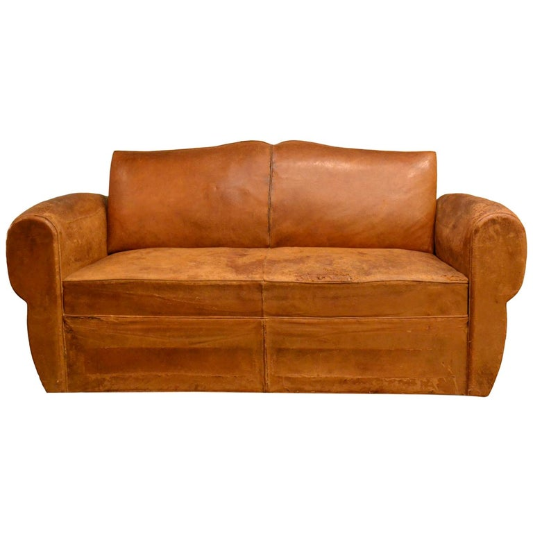 Vintage French 1930s Leather Sofa For Sale