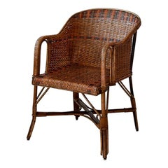 Vintage French 1930s Lounge Chair in Rattan with Woven Details