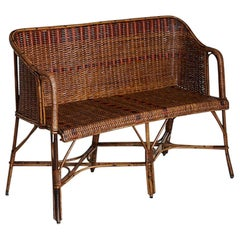 Vintage French 1930s Sofa in Rattan with Woven Details