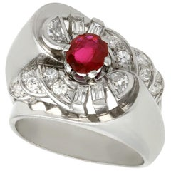 Vintage French 1940s Ruby and Diamond Platinum Ring