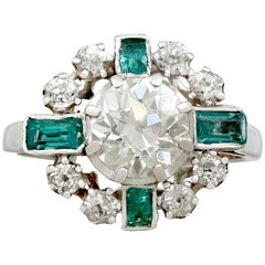 Vintage French 1950s 2.06 carat Diamond and Emerald White Gold Dress Ring