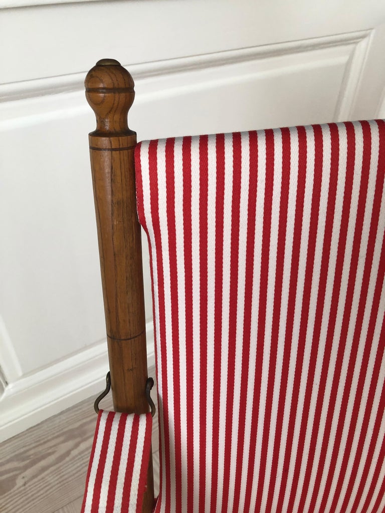 Vintage French 1950s Foldable Chairs in Faux Bamboo and Striped Textile For Sale 6