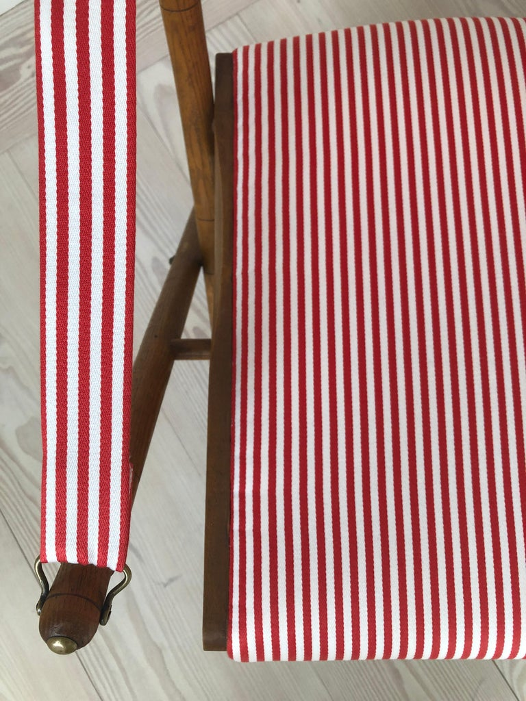 Vintage French 1950s Foldable Chairs in Faux Bamboo and Striped Textile For Sale 7