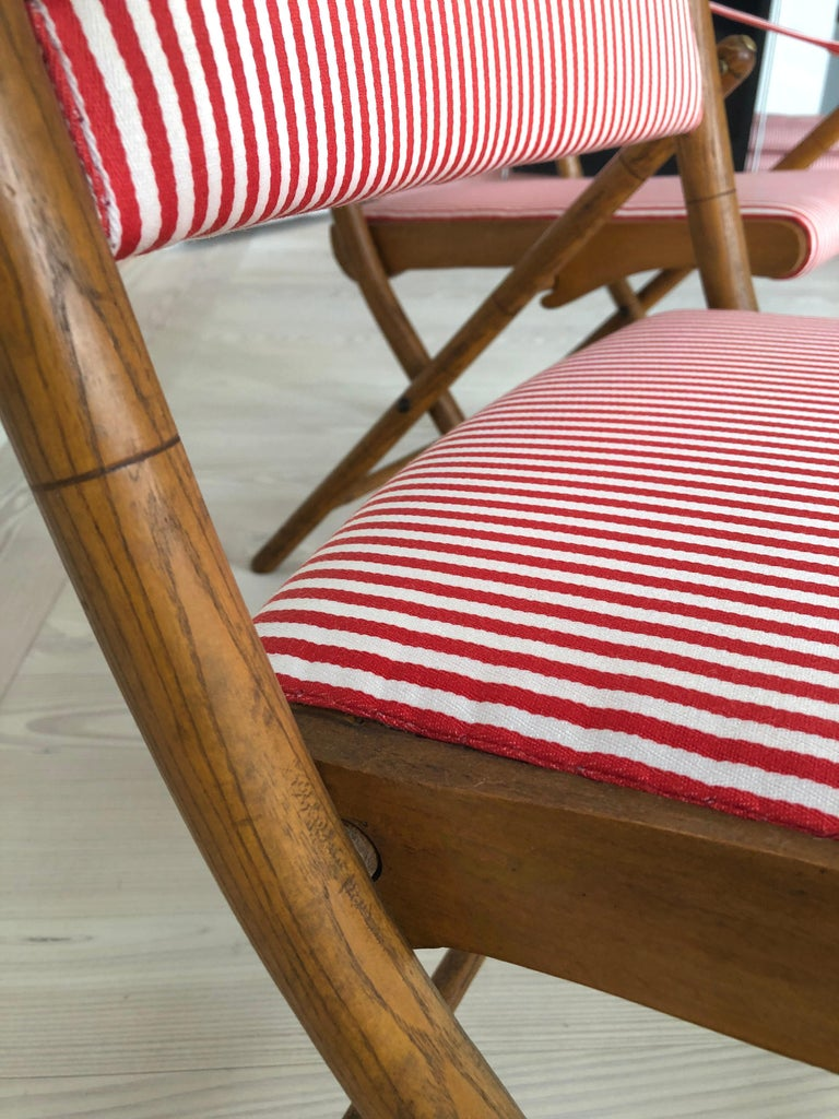 Vintage French 1950s Foldable Chairs in Faux Bamboo and Striped Textile For Sale 9