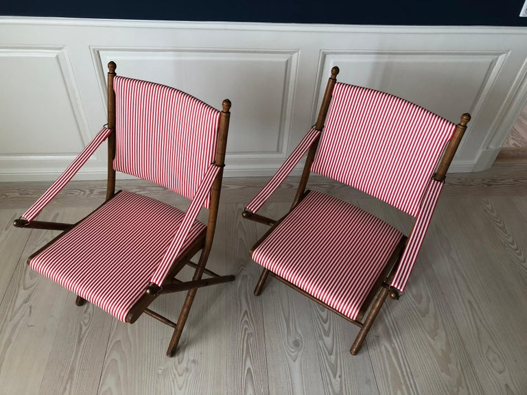 Vintage French 1950s Foldable Chairs in Faux Bamboo and Striped Textile In Good Condition For Sale In Copenhagen K, DK