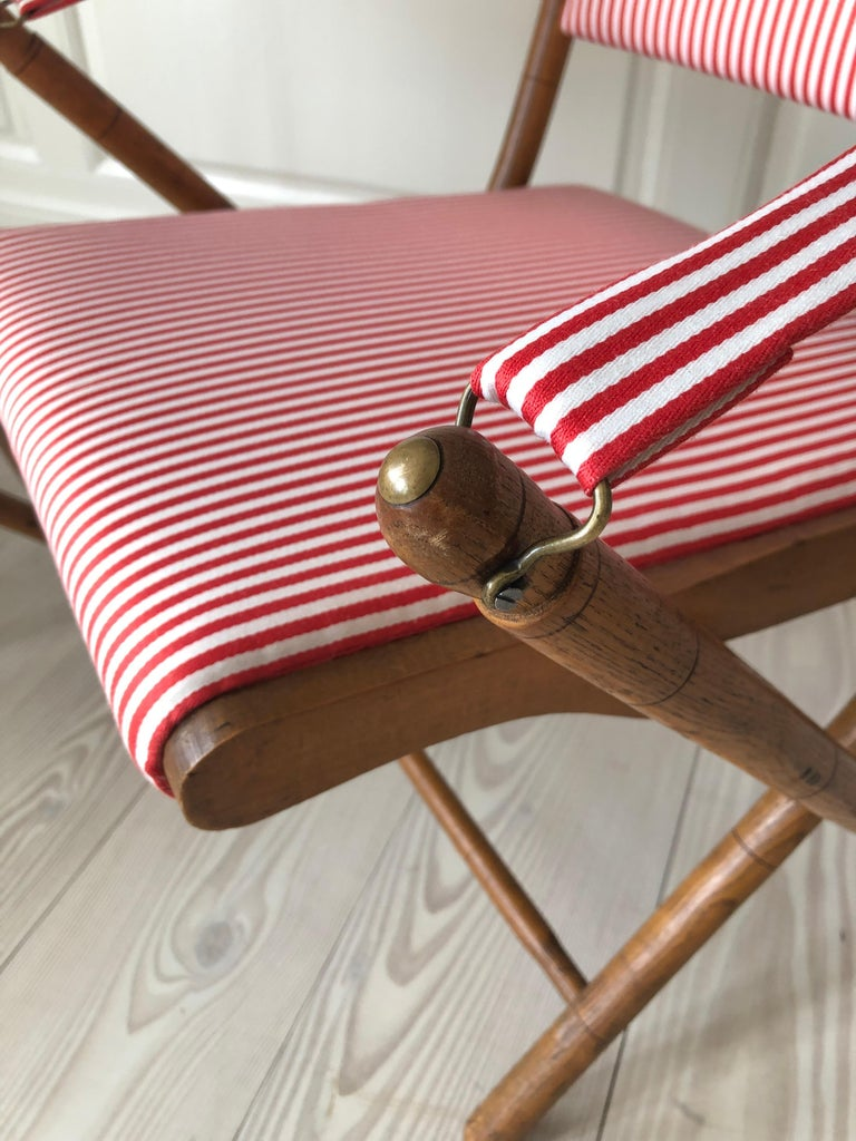 Mid-20th Century Vintage French 1950s Foldable Chairs in Faux Bamboo and Striped Textile For Sale