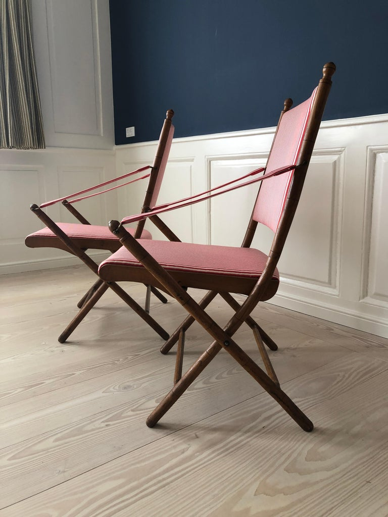 Vintage French 1950s Foldable Chairs in Faux Bamboo and Striped Textile For Sale 1