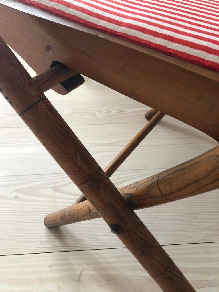 Vintage French 1950s Foldable Chairs in Faux Bamboo and Striped Textile For Sale 3