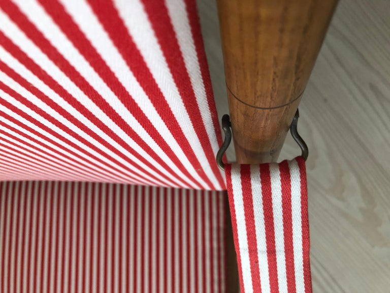 Vintage French 1950s Foldable Chairs in Faux Bamboo and Striped Textile For Sale 5