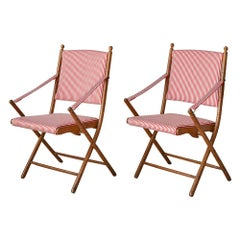 Vintage French 1950s Foldable Chairs in Faux Bamboo and Striped Textile