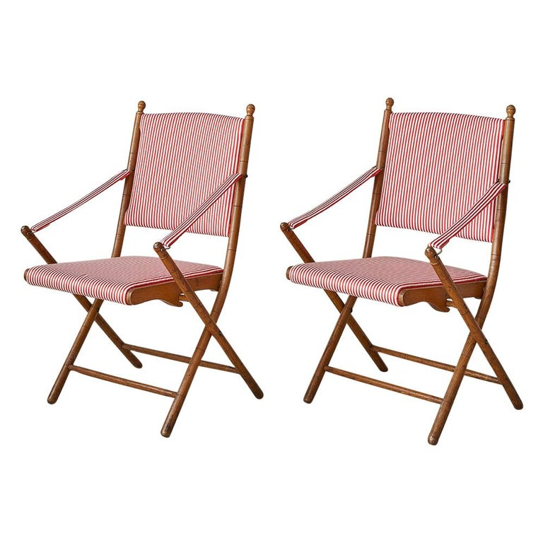 Vintage French 1950s Foldable Chairs in Faux Bamboo and Striped Textile For Sale
