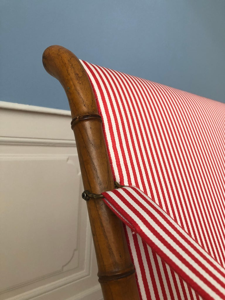 Vintage French 1950s Foldable Sofa in Faux Bamboo and Red/White Striped Textile For Sale 6