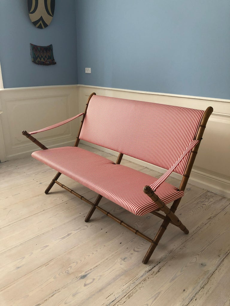 Vintage French 1950s Foldable Sofa in Faux Bamboo and Red/White Striped Textile For Sale 7